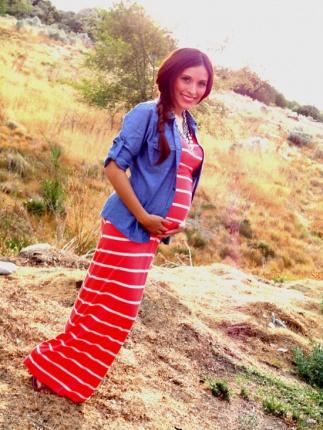 فستان حمل طويل مع قميص جي نز